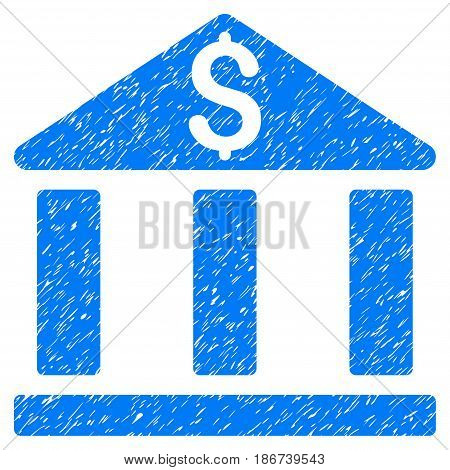 Grunge Bank Office Building icon with grunge design and dirty texture. Unclean vector blue pictogram for rubber seal stamp imitations and watermarks. Draft sticker symbol.