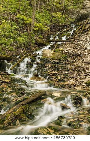Malanphy Springs Upper Waterfall - A cascading waterfall during spring.