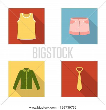 Shirt with long sleeves, shorts, T-shirt, tie.Clothing set collection icons in flat style vector symbol stock illustration .