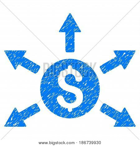 Grunge Cashout icon with grunge design and scratched texture. Unclean vector blue pictogram for rubber seal stamp imitations and watermarks. Draft emblem symbol.