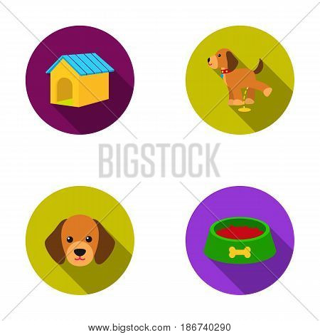 House, booth, bowl, food.Dog set collection icons in flat style vector symbol stock illustration .