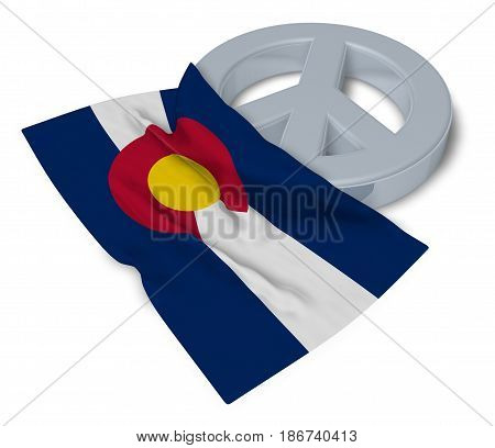 peace symbol and flag of colorado - 3d rendering