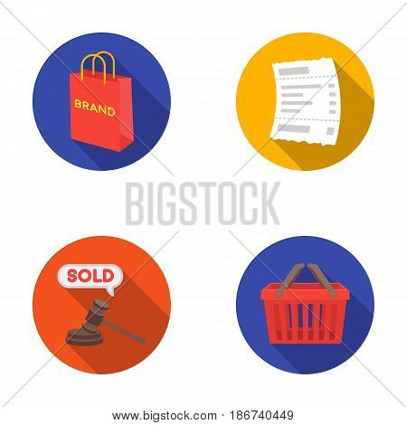 Bag and paper, check, calculation and other equipment. E commerce set collection icons in flat style vector symbol stock illustration .