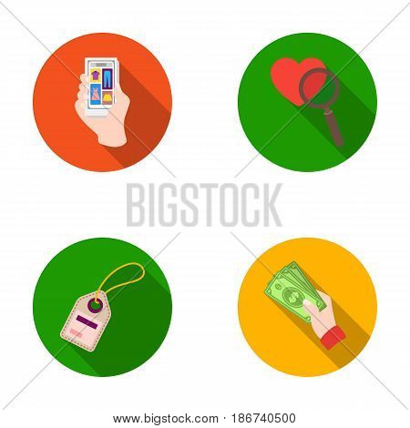 Hand, mobile phone, online store and other equipment. E commerce set collection icons in flat style vector symbol stock illustration .