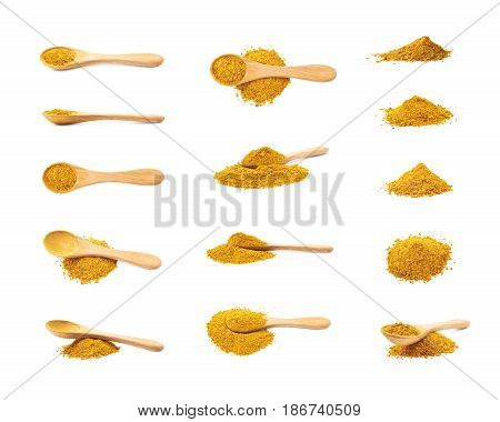 Pile of powdered yellow curry spice with a wooden spoon over it, composition isolated over the white background, set of multiple different foreshortenings