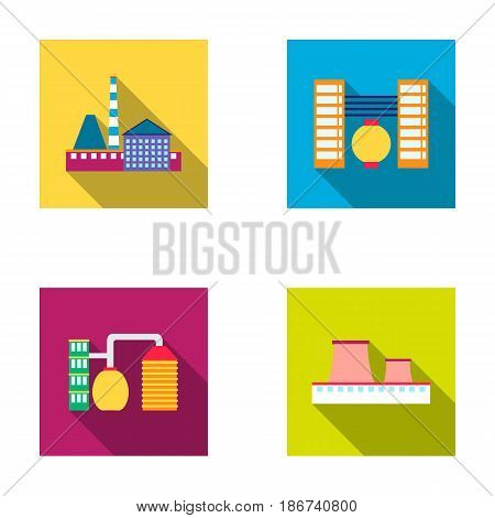 Industry, production.Factory set collection icons in outline style vector symbol stock illustration .