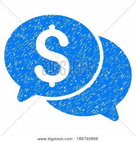 Grunge Financial Messages icon with grunge design and dust texture. Unclean vector blue pictogram for rubber seal stamp imitations and watermarks. Draft emblem symbol.