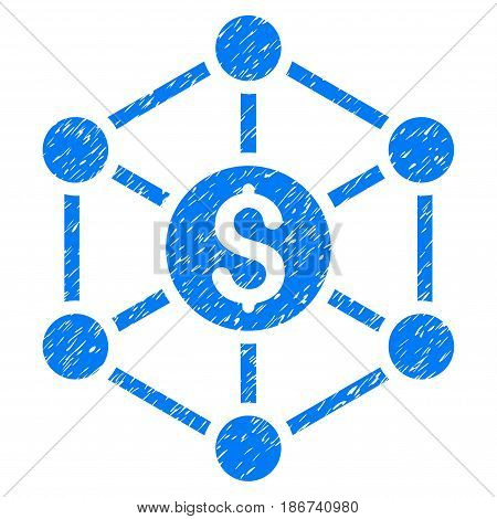 Grunge Financial Radial Scheme icon with grunge design and dirty texture. Unclean vector blue pictogram for rubber seal stamp imitations and watermarks. Draft sign symbol.