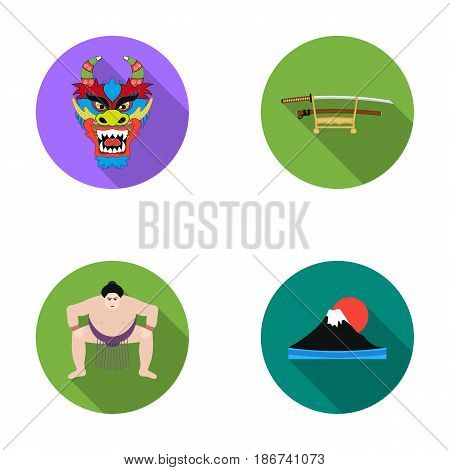 Dragon mask, katano, a man is a sumo player, a fujiama mountain.Japan set collection icons in flat style vector symbol stock illustration .