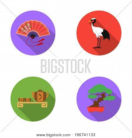 Fan, red crown crane, tea ceremony, bonsai.Japan set collection icons in flat style vector symbol stock illustration .