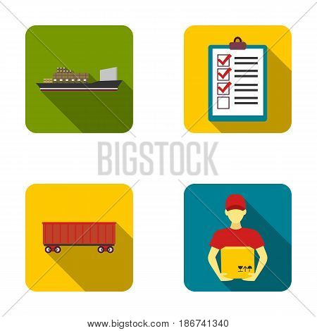 Cargo ship, documents, railway car, courier with box.Logistic set collection icons in flat style vector symbol stock illustration .
