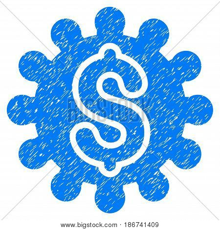 Grunge Payment Configuration icon with grunge design and scratched texture. Unclean vector blue pictogram for rubber seal stamp imitations and watermarks. Draft sign symbol.