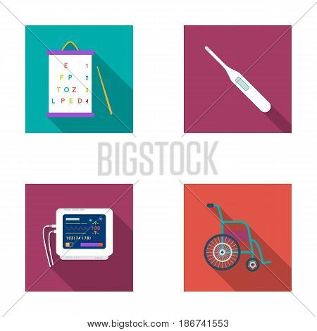 Table for checking eyesight, electronic thermometer, ECG device. Medicine set collection icons in flat style vector symbol stock illustration .