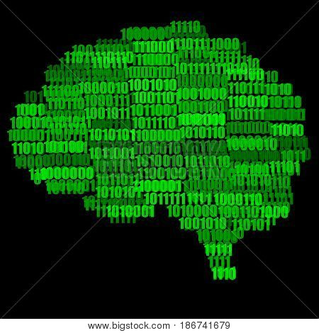 Green on Black Digital Brain Concept Illustration Isolated on Black Background