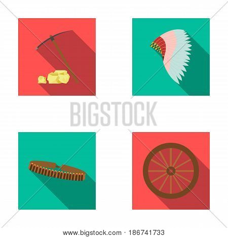 Pickaxe and stones, bandolier, cartwheel, mohawk.Wild west set collection icons in flat style vector symbol stock illustration .