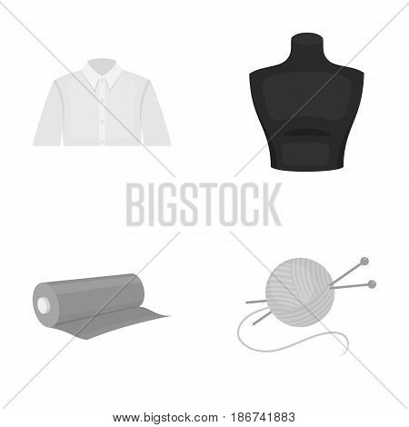 A man's shirt, a mannequin, a roll of fabric, a ball of threads and knitting needles.Atelier set collection icons in monochrome style vector symbol stock illustration .