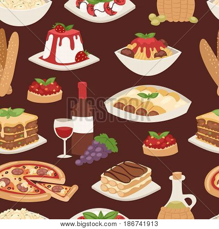 Cartoon italy food cuisine delicious ingredient homemade cooking fresh traditional lunch vector illustration. Dish plate sauce vegetarian cooked diet healthy seamless pattern.