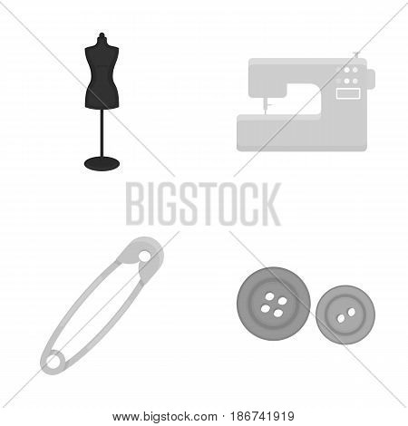 Electric sewing machine, dummy on the stand, pin, buttons.Atelier set collection icons in monochrome style vector symbol stock illustration .