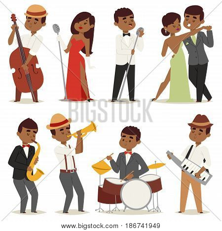 Jazz music band flat group of creative young cartoon musician people playing on instruments blues vector illustration. Guitar sax cello accordion trombone characters