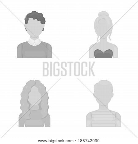 Curly-haired boy, blond, red-haired, teenager.Avatar set collection icons in monochrome style vector symbol stock illustration .