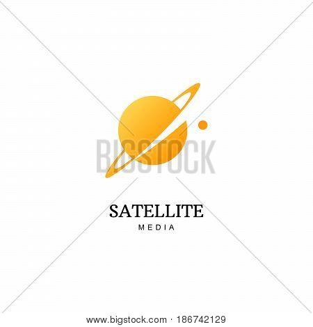 Flat vector planet logo. Satellite design template