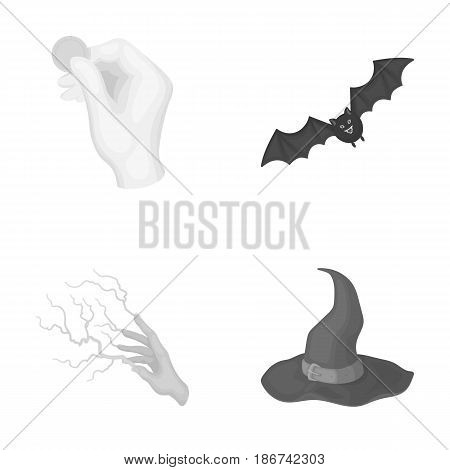 Focus with a coin, a bat, a mage's hat, a lightning-fast spell.Black and white magic set collection icons in monochrome style vector symbol stock illustration .
