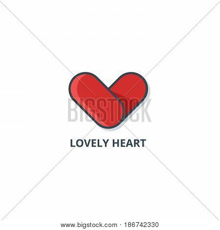 Heart logo. Vector lineart illustration. Best logo for medicine, volunteers and St. Valentine's day