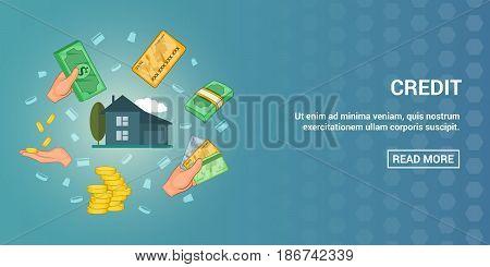 Credit horizontal concept. Cartoon illustration of credit banner horizontal vector for web