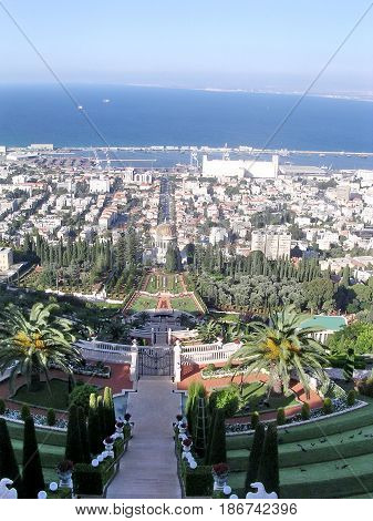 View of Bahai Gardens and port in Haifa Israel September 27 2006