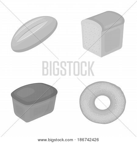 Loaf cut, bagel, rectangular dark, half a loaf.Bread set collection icons in monochrome style vector symbol stock illustration .