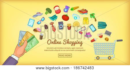 Online shopping horizontal concept. Cartoon illustration of online shopping banner horizontal vector for web