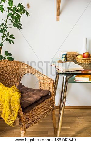 Living room interior woven rattan chair cushions knitted sweater open book tea cup fruits in wicker basket green potted plant cozy atmosphere daylight