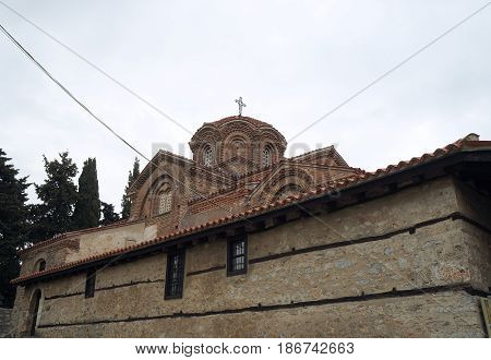 Church of St. Bogorodica Perivlepta dominates old Ohrid, Republic of Macedonia