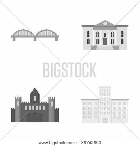 Museum, bridge, castle, hospital.Building set collection icons in monochrome style vector symbol stock illustration .