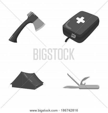 Ax, first-aid kit, tourist tent, folding knife. Camping set collection icons in monochrome style vector symbol stock illustration .