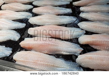 Frozen Dory Fish Fillets (Pangasius) on the tray