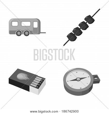 Trailer, shish kebab, matches, compass. Camping set collection icons in monochrome style vector symbol stock illustration .