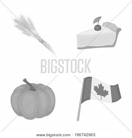 Spike of wheat, a piece of pie with cranberries, pumpkin, national flag.Canada thanksgiving day set collection icons in monochrome style vector symbol stock illustration .