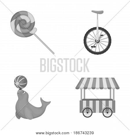 Lollipop, trained seal, snack on wheels, monocycle.Circus set collection icons in monochrome style vector symbol stock illustration .