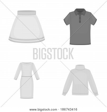 Skirt, t-shirt, sweater, dress with long sleeves.Clothing set collection icons in monochrome style vector symbol stock illustration .