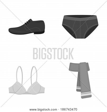 Male shoes, bra, panties, scarf, leather. Clothing set collection icons in monochrome style vector symbol stock illustration .