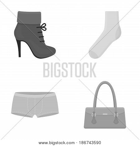 Women's boots, socks, shorts, ladies' bag. Clothing set collection icons in monochrome style vector symbol stock illustration .