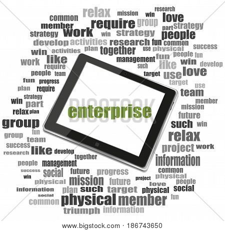 Text Enterprise. Business Concept . Tablet Pc. Word Cloud Collage