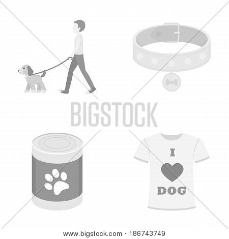 A man walks with a dog, a collar with a medal, food, a T-shirt I love dog.Dog set collection icons in monochrome style vector symbol stock illustration .