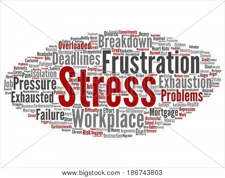 Concept conceptual mental stress at workplace or job pressure abstract word cloud isolated background. Collage of health, work, depression problem, exhaustion, breakdown, deadlines risk text