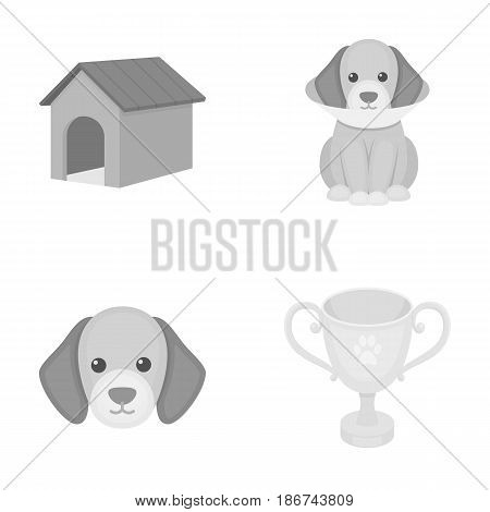 Dog house, protective collar, dog muzzle, cup. Dog set collection icons in monochrome style vector symbol stock illustration .