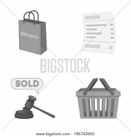 Bag and paper, check, calculation and other equipment. E commerce set collection icons in monochrome style vector symbol stock illustration .
