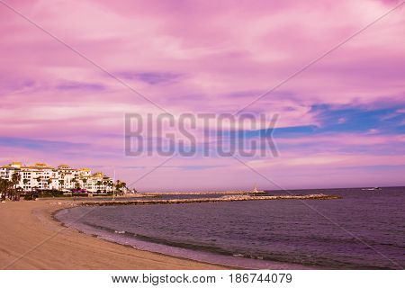 Puerto Banus. Beautiful sunset view. Marbella city, Andalusia, Costa del Sol, Spain.