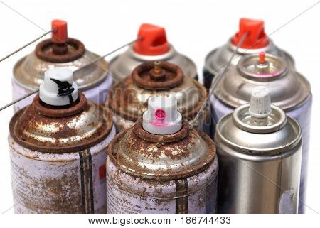 Household Hazardous Waste - aerosol cans isolated on white background