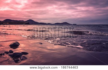 Sunset over Ballingskelligs Bay Beach, Waterville, County Kerry, Ireland